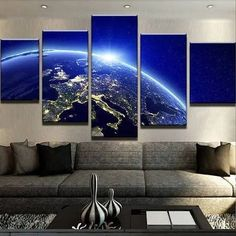 Europe Lights Galaxy Space Canvas Wall Art – Canvas In House Galaxy Space, Dining Room Walls, Canvas Artwork, Large Wall Art, Wall Spaces, Fabric Panels, Game Room, Wall Art Prints, Room Decor
