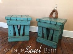 """""""So happy to donate these solid wood end tables to the IJRA Indiana Junior Rodeo Association. I hope these will bring some money for the kiddos during their silent auction. Also, shout out to Sid with Boone County Uniques. I can always find the neatest pieces to redo at his shop. The color on these tables are a custom mix of General Finishes Milk Paint in Persian Blue and Patina Green. Then it was heavily distressed and glazed with GF Van Dyke Brown Glaze Effects."""" - Vintage Soul Barn"""