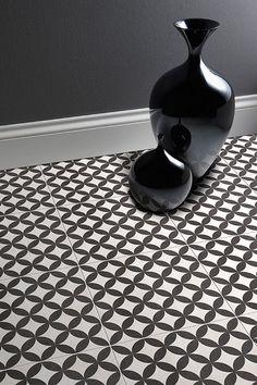 Victorian Circle Effect Black White Ceramic Floor Tiles Sample | eBay