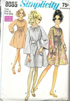 Simplicity 8085 Misses Dress With Two Sleeve Interest And Tied Neck And Waist Sewing Pattern, Size 10, Bust 32 1/2, UNCUT by DawnsDesignBoutique on Etsy