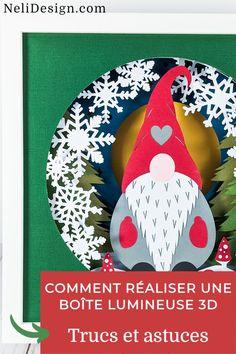 Apprenez tous mes trucs pour vous aider dans la réalisation de cette super belle boîte lumineuse 3D avec votre Cricut (shadow box). Idéale pour un cadeau de Noël dernière minute! Vous verrez quels matériaux utiliser comme espaceur, quelles lumières choisir et comment économiser! #shadowbox #Cricut Diy Francais, Craft Tutorials, Craft Projects, Cricut, Party Planning, Super Belle, Diy And Crafts, Christmas Ornaments, Holiday Decor