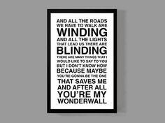 Custom Lyrics Poster • OASIS Print • Music Quote Wonderwall • First Dance or Favorite Song Personalized Lyrics • Oasis Wonderwall by MusicAndArtCoUSA on Etsy