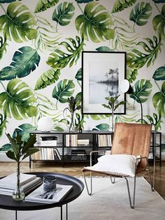 Removable wallpaper - Exotic Green Leaves Wallpaper - Wall mural - Leaves Wallpaper - Self adhesive wallpaper - Temporary wallpaper - in Tessuto di Carta Rari 🌹 Temporary Wallpaper, Trendy Wallpaper, Self Adhesive Wallpaper, Wall Wallpaper, Nature Wallpaper, Bedroom Wallpaper, Green Leaf Wallpaper, Leaves Wallpaper, Office Deco