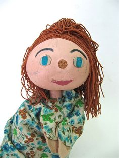 Vintage Gourd Puppet Little Red Haired Girl by worldvintage