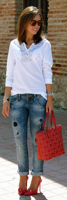 Ripped Jeans And Red Heels