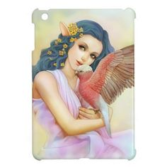 Blue haired elf and her galah iPad mini covers. Available also in different cover style. #zazzle #petopet #bird #cockatoo #galah #elf #princess #bluehaired #rosecockatoo #realisticpainting #painting #portrait #pet #animal #galahcockatoo #ipadminicase #ipad #ipadmini #case #sale #manga #semirealism #style #art #emmil #deviantart #merchandise