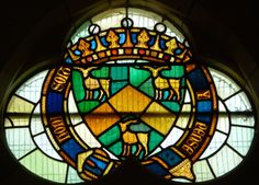 Studley Royal, Stained Glass. Heraldic windows in St George's Chapel. Above the panels are three coats of arms relating to the Marquess. He became both Earl de Grey and Earl of Ripon in 1859, then Marquess of Ripon in 1871. In 1869 he became a Knight of the Garter.