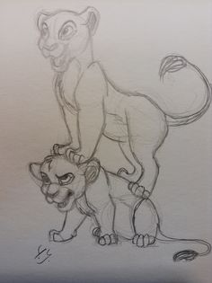 Sketch of Nala and Simba from Disney's The Lion King. By Yenthe J.