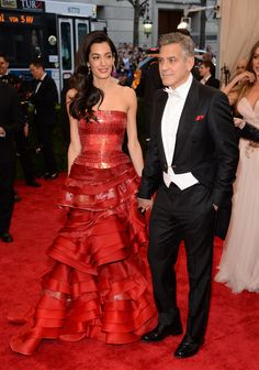 Amal and George Clooney at the Met Gala 2015 | POPSUGAR Fashion