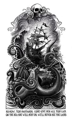 So Row, You Bastards by Clement Masson octopus tattoo 25 First-Rate Nautical & Sailor Themed Art and Illustrations Octopus Tattoo Sleeve, Nautical Tattoo Sleeve, Kraken Tattoo, Kraken Art, Octopus Tattoos, Octopus Art, Mermaid Tattoos, Tattoo Sleeve Designs, Sleeve Tattoos