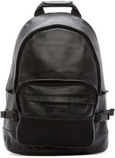 Ami Alexandre Mattiussi: Black Leather Backpack | SSENSE