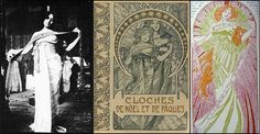 """Alphonse Mucha - """"Clôches de Noël et de Pâques"""" (Bells of Christmas and Easter) c.1900    Pictured alongside Mucha's own black & white photograph study for the cover illustration, c.1900.    The """"Clôches de Noël et de Pâques"""" (Bells of Christmas and Easter) is a collection of tales by Émile Gebhart, a writer heavily steeped in mysticism."""