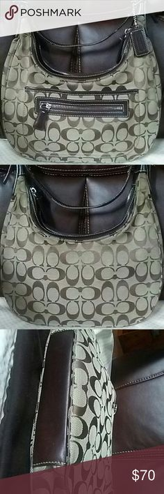 """COACH Signature Hobo Bag with dust bag Pre-loved authentic Hobo Coach's Signature canvas fabric with dark brown accents and trim. Zippers are in perfect working condition.   Exterior: shoulder strap is 14"""" approx, front zipper pocket that would fit kleenex and magnetic snap enclosure pocket.   Interior: fully lined dark brown canvas fabric with additional zipper pocket inside.   Authenticity serial #: H2K- 6045.  Size : 11.5""""x 11.5"""" x 2"""". Only the leather strap on the side shows sign of…"""