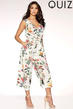 Buy Quiz Floral Wrap Front Tie Belt Culotte Jumpsuit from the Next UK online shop