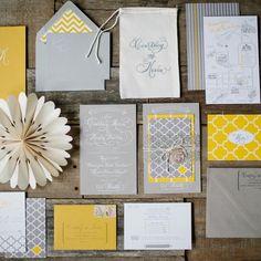 Yellow & gray Invitations // photo by: Millie Holloman Photography // Invitations: HalAnne Cards, New York, NY