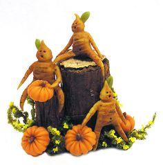 Dollhouse Miniature Root People with Pumpkins - Handmade 1:12 scale OOAK