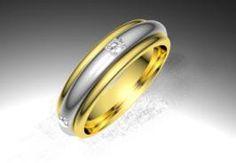 Alianza de oro blanco y amarillo de 18K modelo Giratoria Ref.: 750BIC50GIRATBIOro blanco y amarillo de 18Kmodelo Giratoria superficie brillo #bodas #alianzas #anillos #sortijas #diamantes #brillantes #novia | cnavarro.com