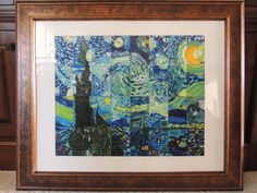 """The Starry Night"" collage class  art auction project with acrylic paint"