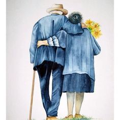 True Love Is Growing Old Together Couples Âgés, Vieux Couples, Couple Painting, Diy Painting, Growing Old Together, Oeuvre D'art, Alter, Watercolor Paintings, Watercolour