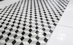 Black and White Mosaics add dramatic interest to a room. Pair it with metro tiles and a slipper bath for a modern take on vintage style Johnson Tiles, Metro Tiles, My Ideal Home, Vintage Romance, Vintage Fashion, Vintage Style, Soft Colors, Tile Floor, Flooring