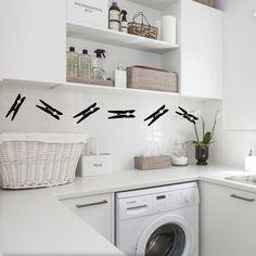 vinilo decorativo broches para ropa lavadero lavanderia lavarropas