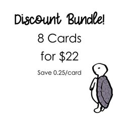 Greeting Cards Discount Bundle 8 Cards for 22 Purple Turtle