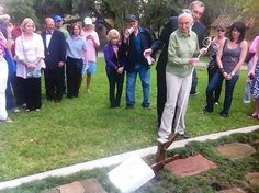 """Jane Goodall, with Rollins College president Lewis Duncan, places a stone bearing her name on """"Mills Lawn"""" on the college's campus on Thursday, April 19, 2012.  """"Jane Goodall champions conservation in talk at Rollins"""" April 19 in the Orlando Sentinel"""