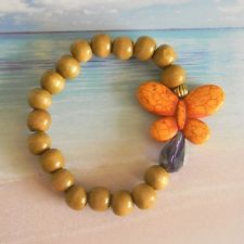 Large Orange Butterfly Beaded Stretch Bracelet with Wood Beads and Crystal Bead
