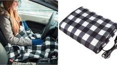 S'beauty Electric Blankets Heated Travel Blanket for Car Shearing Plush X (Black Gray White Plaid) Car Blanket, Heated Blanket, Heat Energy, Save Energy, Snuggle In Bed, Winter Car, Months In A Year, White Plaid, Baby Car Seats