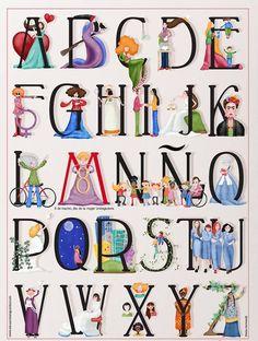 Abecedari de dones, il·lustrat per Mónica Carretero Quina xulada són els Alfabets il·lustrats ! Originals, tipogràficament interessa...