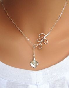 Calla Lily and Branch sterling silver lariat necklace. Bridal. Wedding. Bridesmaids Gift. Everyday Wear.