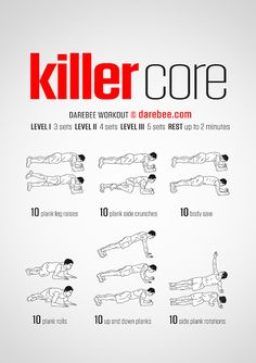 Killer Core Workout A strong core enables you to do anything that requires balan. Killer Core Workout A strong core enables you to do anything that requires balance, distributed load, explosive move Fitness Workouts, Gym Workout Tips, Abs Workout Routines, Ab Workout At Home, Workout Challenge, At Home Workouts, Fitness Tips, Killer Ab Workouts, Plank Workout