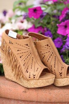 Suede Fringe Delight Wedge In Tan With Beautiful Cut Work That One Should Have!