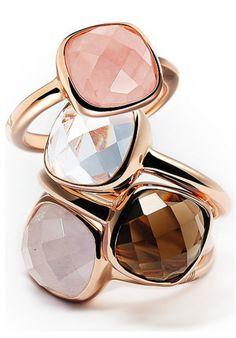 Bronzallure Rose Gold Ring Stack #jewellery #bronzallure #rose #gold #gemstones
