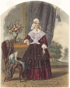 Friese dame in interieur. From the collection: Regional Costumes in the Netherlands. Dutch Women, Public Domain, Fashion History, Traditional Dresses, Folklore, Holland, 19th Century, German, Fairy