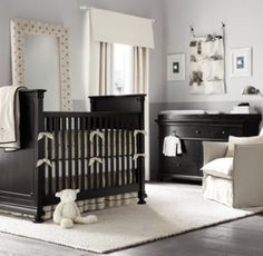A great example of how to make dark finish baby furniture not darken up your nursery - Restoration Hardware Baby & Child Black Nursery Furniture, Dark Wood Nursery, Nursery Neutral, Baby Furniture, Cream Nursery, Furniture Ideas, Sheep Nursery, Nursery Room, Nursery Ideas