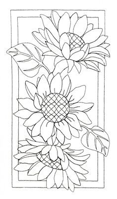 Pre-Stitched Art Applique blocks for coloring- Large Sunflowers - Stitching Projects Sunflower Coloring Pages, Sunflower Drawing, Sunflower Art, Sunflower Stencil, Sunflower Paintings, Sunflower Pattern, Wood Burning Patterns, Wood Burning Art, Fabric Painting