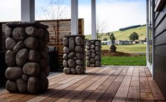 Beautiful stonework compliments the decking and exterior weatherboard. French Collection, Secret Boards, Wooden Decks, Home And Garden, Exterior, House Design, Decking, Compliments, Outdoors