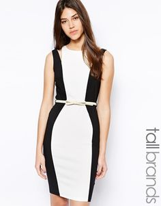 Paper Dolls Tall Color Block Pencil Dress With Double Strap Detail - Black / white by: Paper Dolls Tall @ASOS (US)