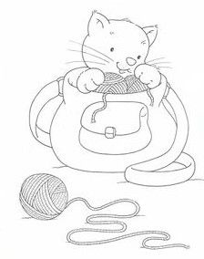 Molde Colouring In Embroidery Cats Templates