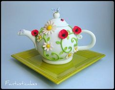 Decorative Flower Teapot Cake