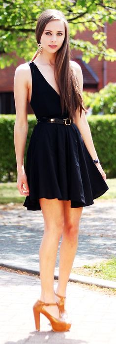 Black Cross Over Back Dress  by Koko Luxe