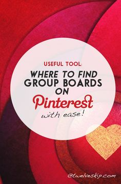 Discover a cool free tool to help you find relevant and active Pinterest group boards! http://www.twelveskip.com/tutorials/pinterest/1281/find-group-boards-on-pinterest
