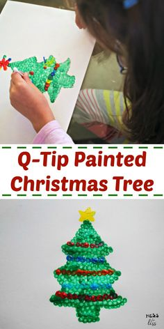 Christmas Crafts for Kids Q-tip Tree from Mess for Less. This simple Q-Tip Tree is a fun Christmas craft for kids and the painting method helps strengthen fine motor skills. #christmascrafts #christmasactivities Christmas Angels, Christmas Fun, Christmas Decorations, Christmas Ornaments, Fun Activities For Kids, Christmas Activities, Toddler Crafts, Preschool Crafts, Q Tip Painting