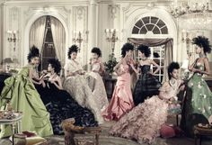 To celebrate the rise of Asian models on the runway, Steven Meisel recreated Cecil Beaton's 1948 Charles James image… Du Juan, Tao Okamoto, Hyun Yi Lee, Hyoni Kang, Liu Wen, Bonnie Chen, So Young Kang, and Lily Zhi all dressed in Oscar de la Renta whilst sporting punk-style mohawks … Steven Meisel (photo) … Asia Major, Vogue, December 2010 …