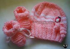 gorro de tricô rosa para bebê