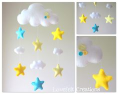 Baby mobile Stars mobile Cloud Mobile Baby door LoveFeltXoXo