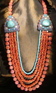 Beautiful Coral and Turquoise Necklace by Faria Siddiqui