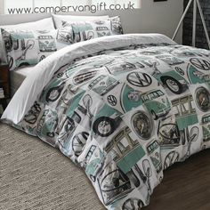 Cool Volkswagen 2017: Campervan Gift - Volkswagen Classic Mint Campervan Duvet and Pillow Case Set, (w...  My bus Check more at http://carsboard.pro/2017/2017/04/16/volkswagen-2017-campervan-gift-volkswagen-classic-mint-campervan-duvet-and-pillow-case-set-w-my-bus/
