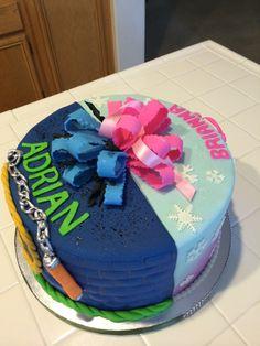 Half Ninja half Frozen cake for a boy and girls birthday